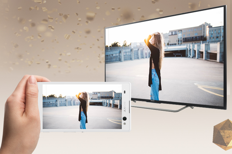 Android Tivi Sony 49 inch KD-49X7000D - Chiếu màn hình điện thoại lên tivi
