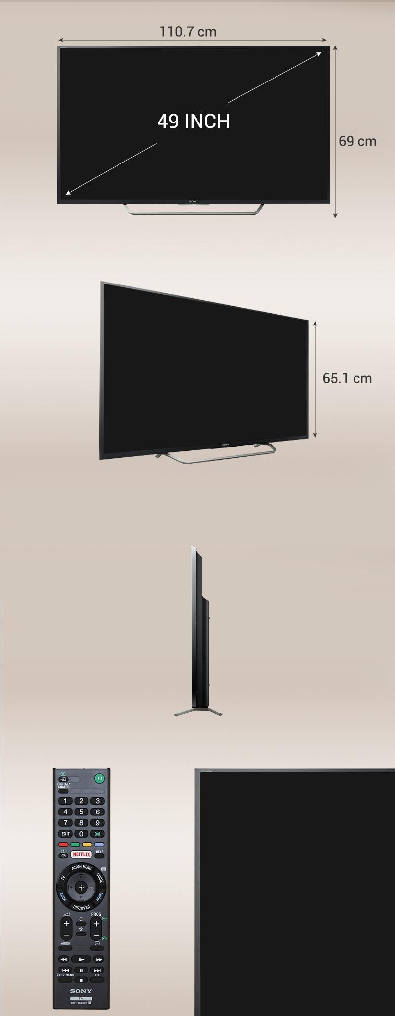 Android Tivi Sony 49 inch KD-49X7000D - Kích thước tivi