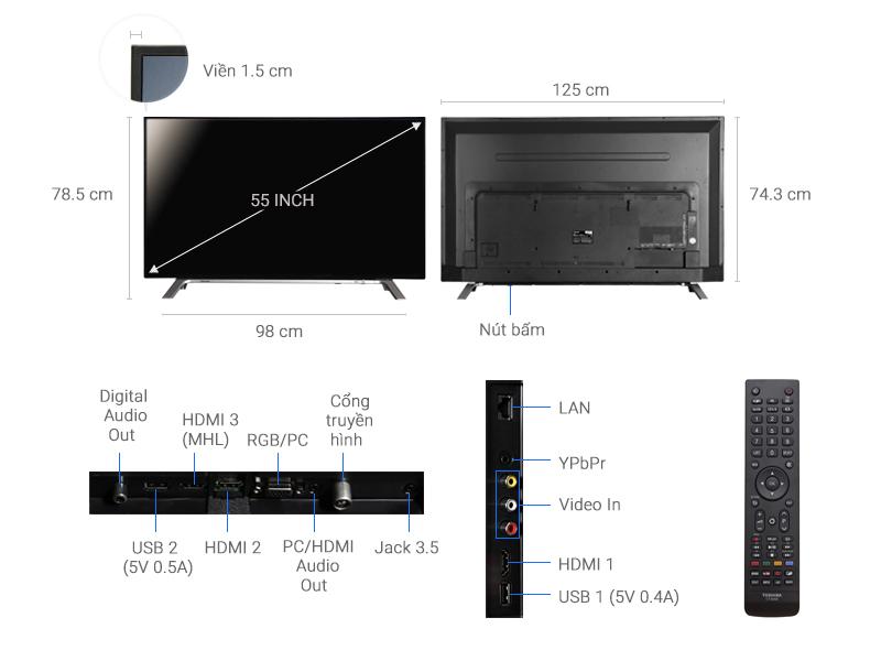 Thông số kỹ thuật Smart Tivi Toshiba 55 inch 55L5650