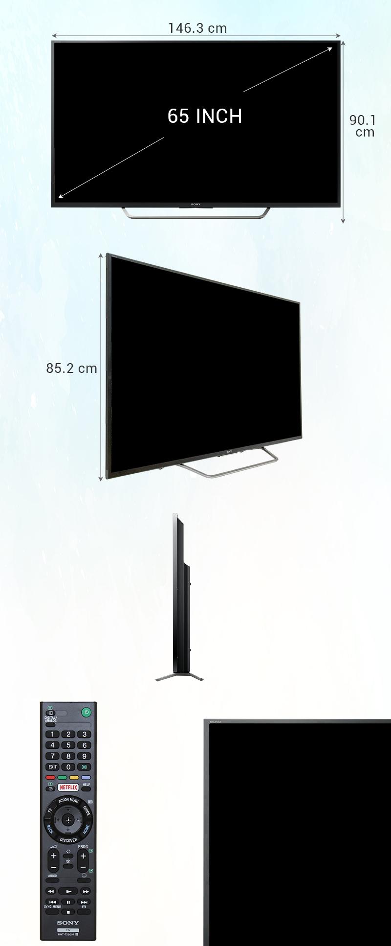 Android Tivi Sony 65 inch KD-65X7500D - Kích thước tivi