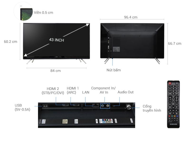 Thông số kỹ thuật Smart Tivi Samsung 43 inch UA43K5300