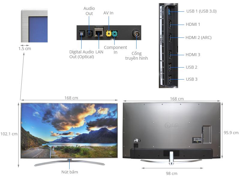 Thông số kỹ thuật Smart Tivi LG 75 inch 75UH656T