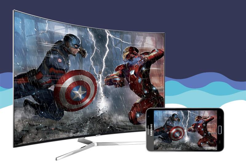 Smart Tivi Samsung 78 inch UA78KS9800 - Chiều màn hình điện thoại lên tivi