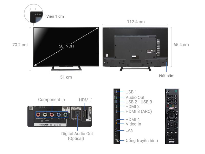 Thông số kỹ thuật Android Tivi Sony Cong 50 inch KD-50S8000D