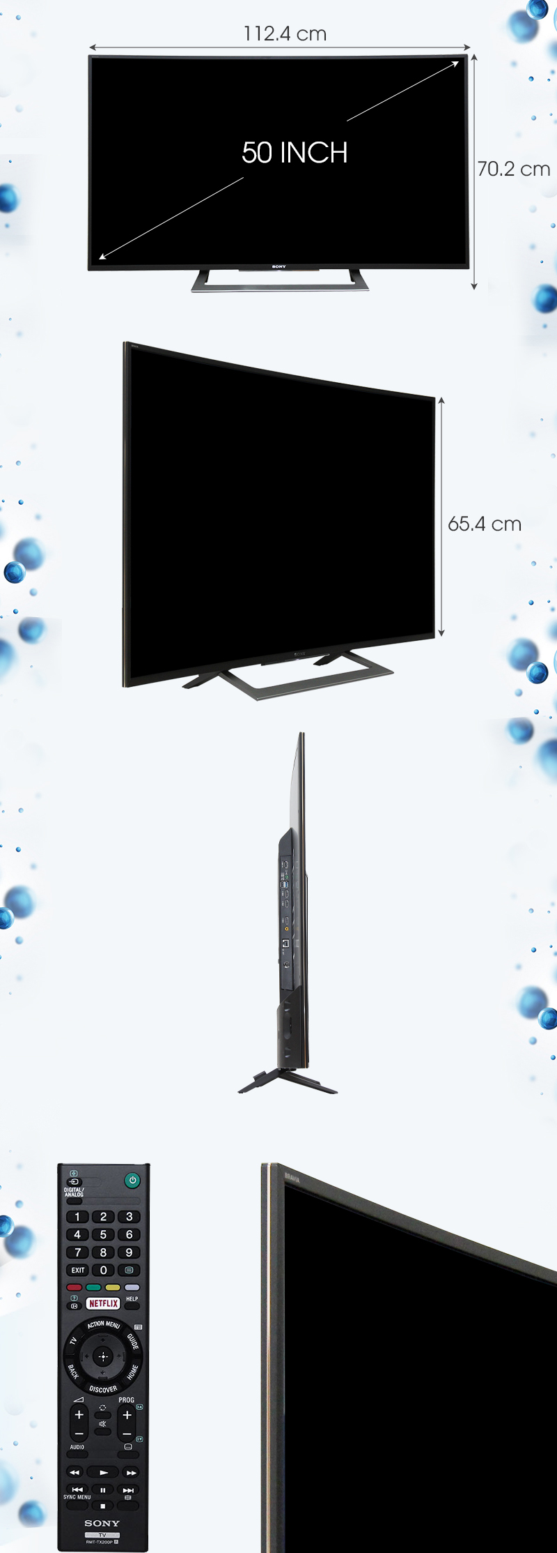 Android Tivi Sony Cong 50 inch KD-50S8000D - Kích thướcTV