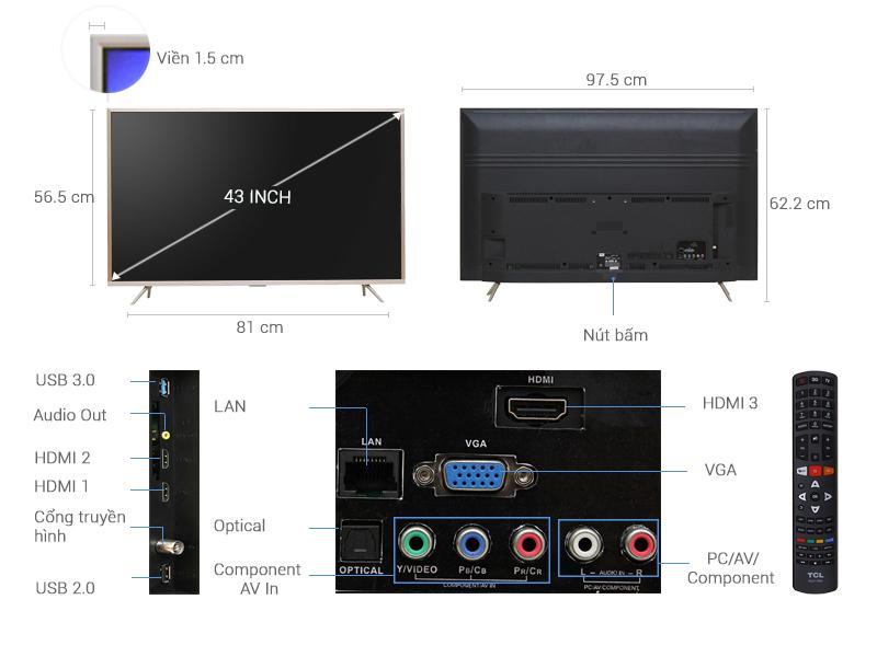Thông số kỹ thuật Smart Tivi TCL 4K 43 inch L43Z2