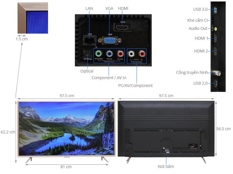Thông số kỹ thuật Smart Tivi TCL 43 inch L43Z2