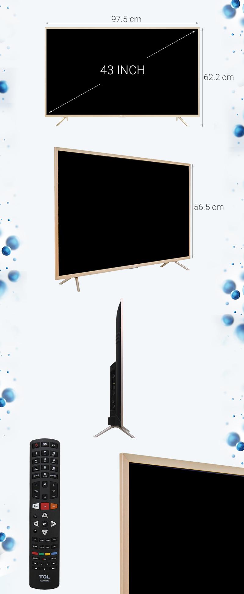 Smart Tivi TCL 43 inch L43Z2 - Kích thước TV