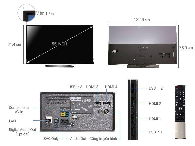 Thông số kỹ thuật Smart Tivi OLED LG 4K 55 inch 55B6T