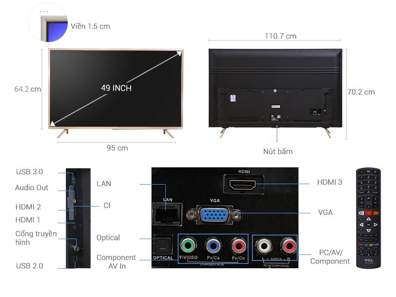 Thông số kỹ thuật Smart Tivi TCL 4K 49 inch L49Z2