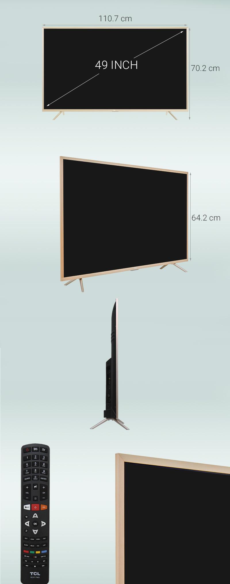 Smart Tivi TCL 49 inch L49Z2 - Kích thước TV