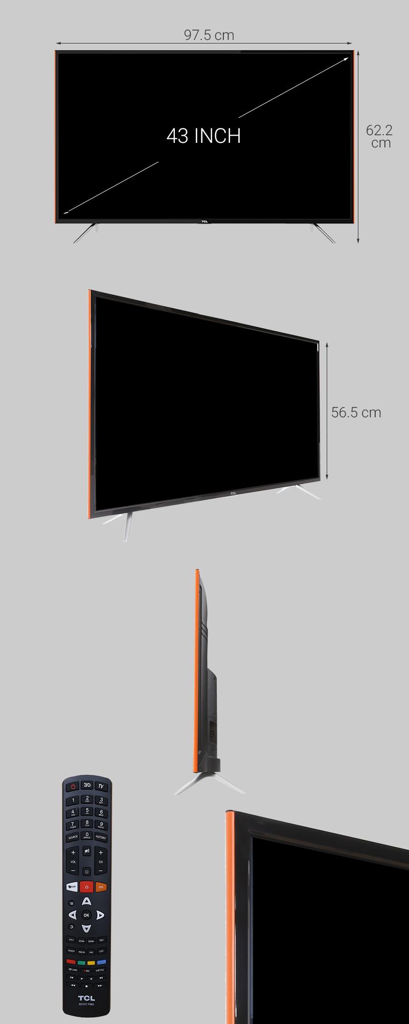 Smart Tivi TCL 43 inch L43S6100 - Kích thước tivi