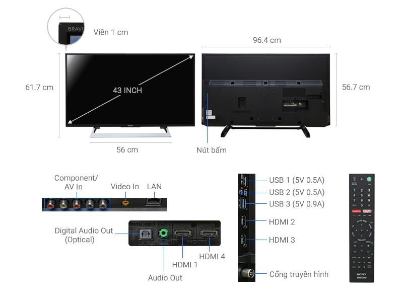 Thông số kỹ thuật Smart Tivi Sony 43 inch KD-43X8000E