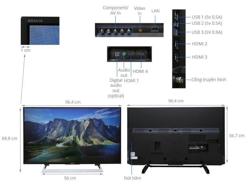 Thông số kỹ thuật Android Tivi Sony 43 inch KD-43X8000E
