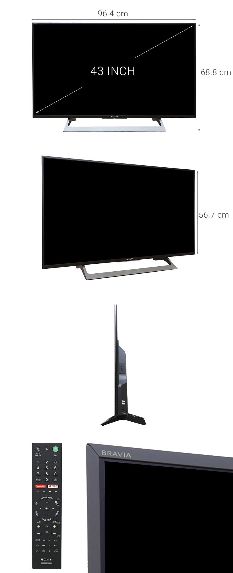 Android Tivi Sony 43 inch KD-43X8000E - Kích thước TV