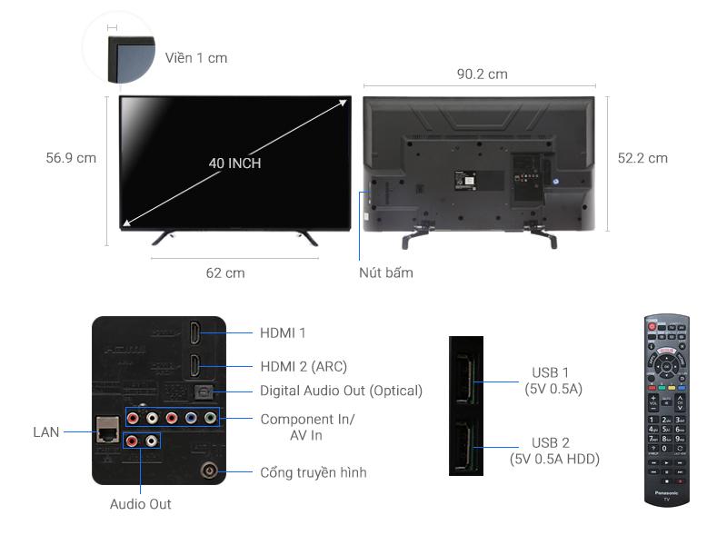 Thông số kỹ thuật Smart Tivi Panasonic 40 inch TH-40DS490V