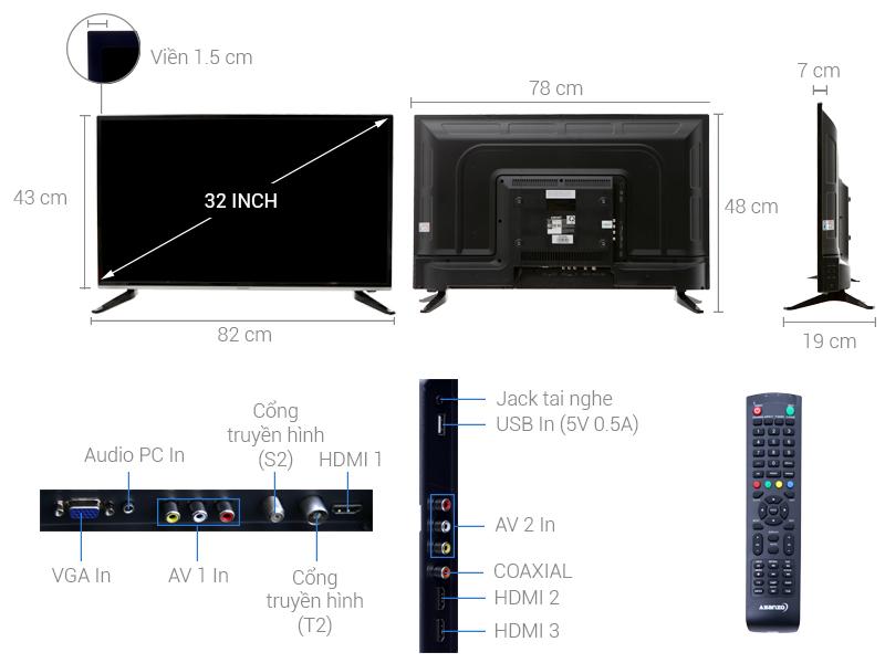 Thông số kỹ thuật Tivi Asanzo 32 inch ES32T890