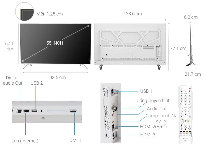 Thông số kỹ thuật Smart Tivi Toshiba 4K 55 inch 55U9650
