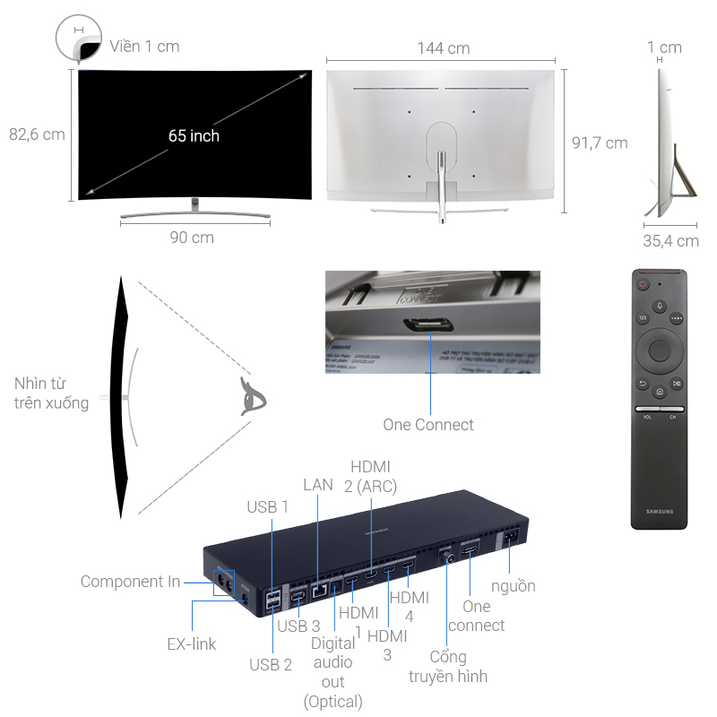 Thông số kỹ thuật Smart Tivi QLED Samsung 4K 65 inch QA65Q8C