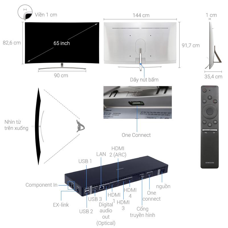 Thông số kỹ thuật Smart Tivi Cong QLED 65 inch Samsung QA65Q8C