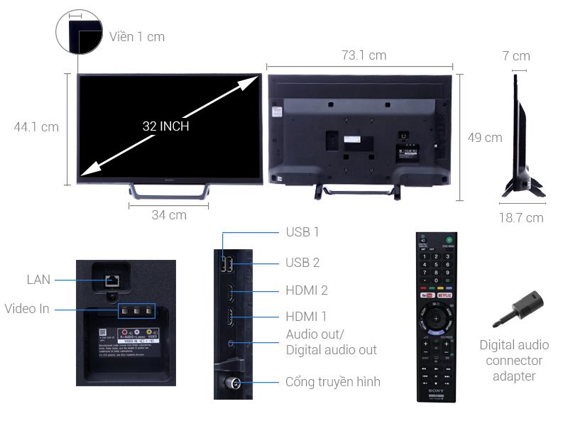 Thông số kỹ thuật Internet Tivi Sony 32 inch KDL-32W610E