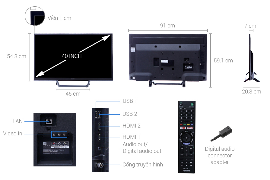Thông số kỹ thuật Internet Tivi Sony 40 Inch KDL-40W660E