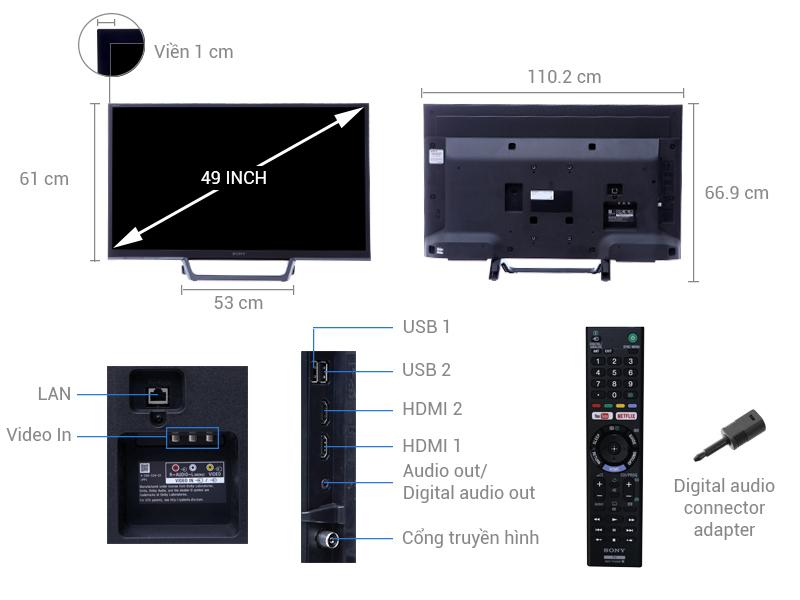 Thông số kỹ thuật Internet Tivi Sony 49 inch KDL-49W660E