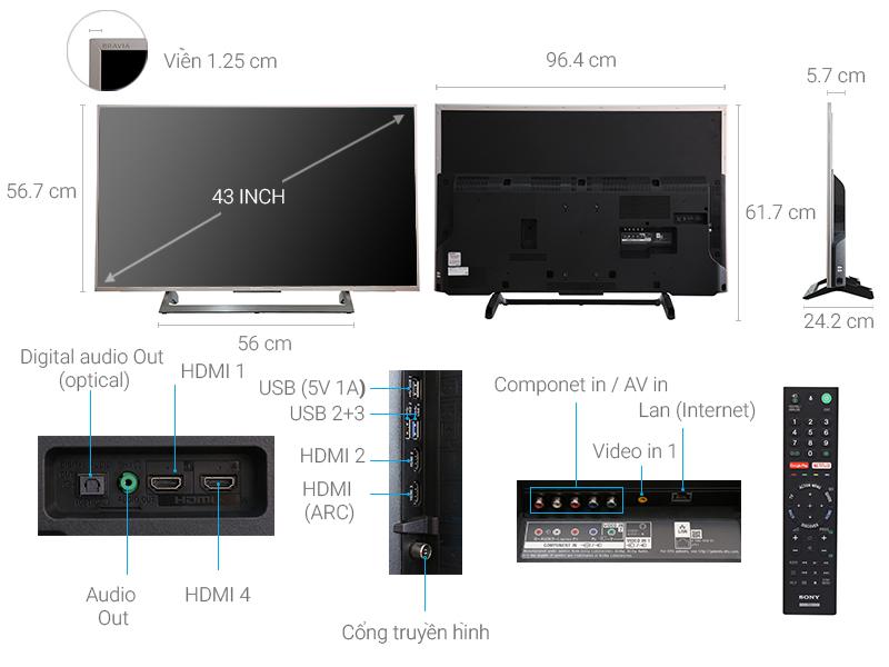 Thông số kỹ thuật Android Tivi Sony 43 inch KD-43X8000E/S