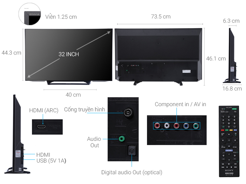 Thông số kỹ thuật Tivi Sony 32 inch KDL-32R300E
