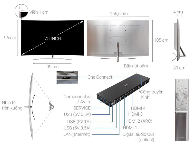 Thông số kỹ thuật Smart Tivi QLED 75 inch Cong Samsung QA75Q8C