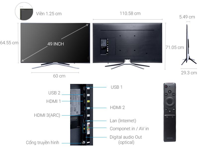 Thông số kỹ thuật Smart Tivi Samsung 49 inch UA49M5500