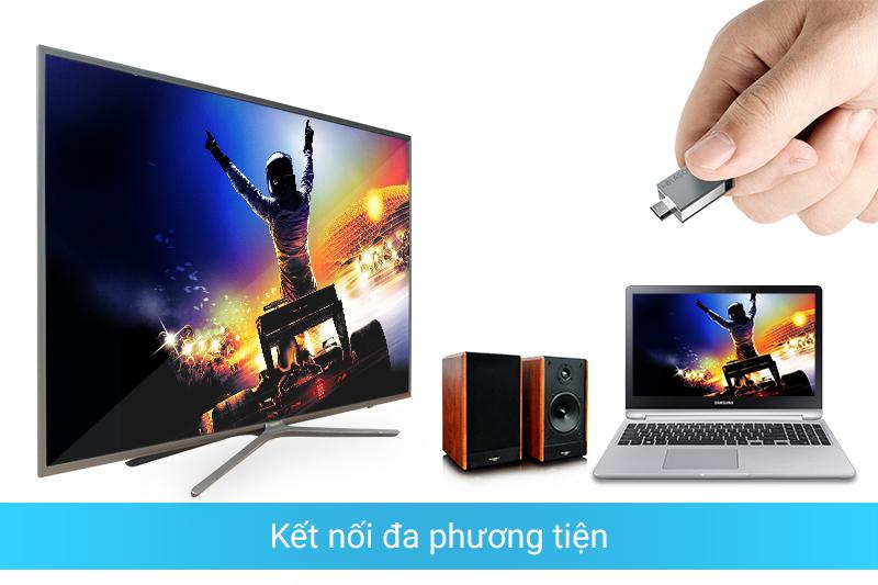 Kết nối đa dạng với thiết bị ngoài như laptop, đầu DVD, USB,…