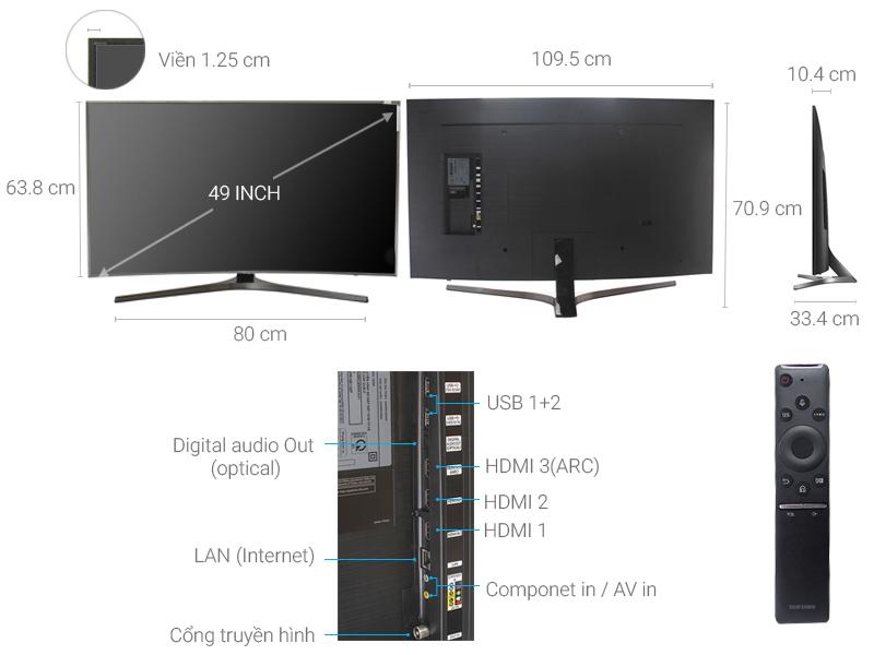 Thông số kỹ thuật Smart Tivi Cong Samsung 49 inch UA49MU6500