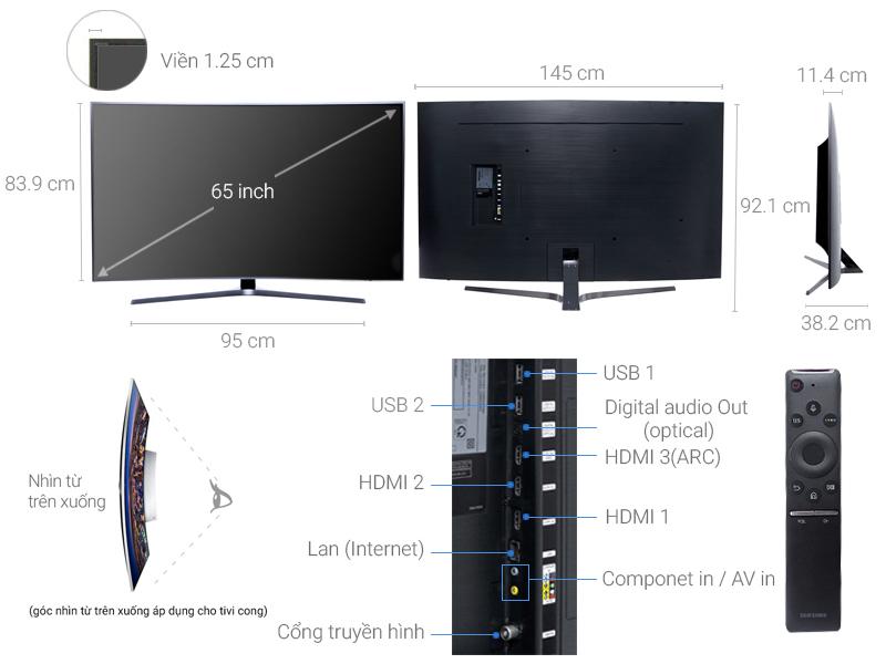 Thông số kỹ thuật Smart Tivi Cong Samsung 65 inch UA65MU6500