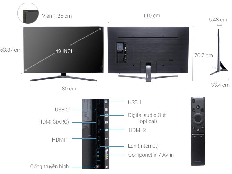 Thông số kỹ thuật Smart Tivi Samsung 49 inch UA49MU6400