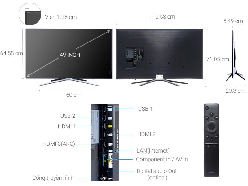 Thông số kỹ thuật Smart Tivi Samsung 49 inch UA49M5520