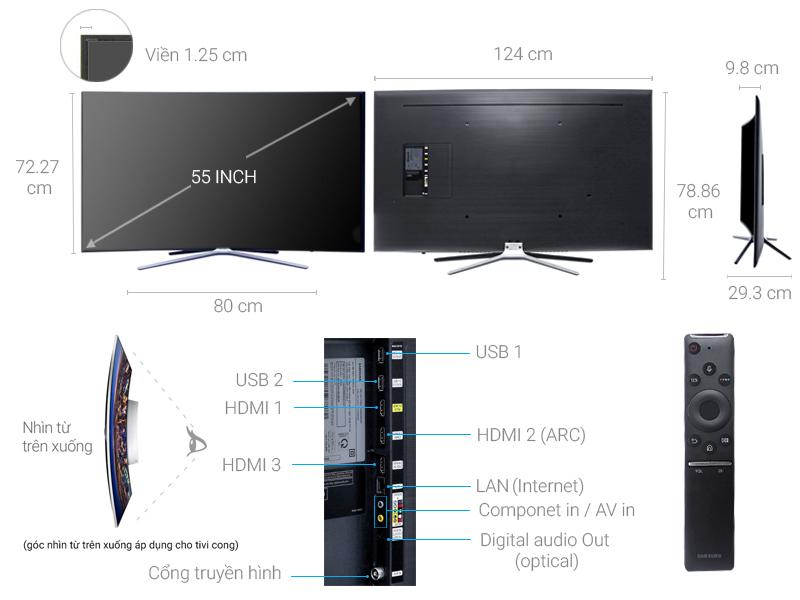Thông số kỹ thuật Smart Tivi cong Samsung 55 inch UA55M6300