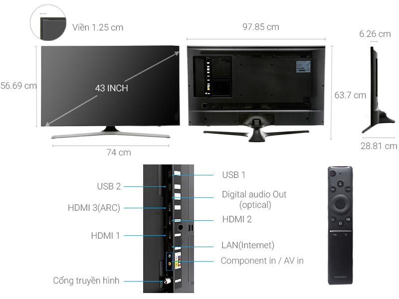 Thông số kỹ thuật Smart Tivi Samsung 4K 43 inch UA43MU6100