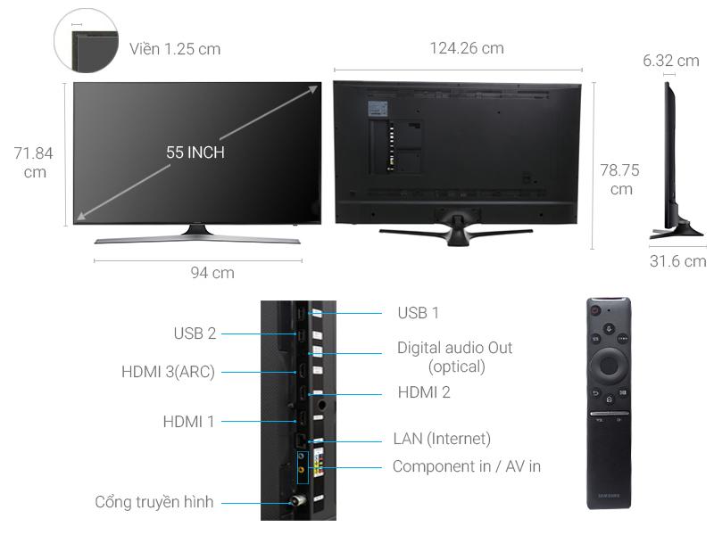 Thông số kỹ thuật Smart Tivi Samsung 4K 55 inch UA55MU6100