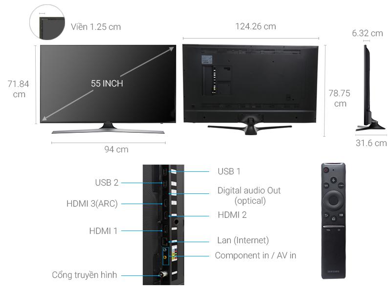 Thông số kỹ thuật Smart Tivi Samsung 55 inch UA55MU6100
