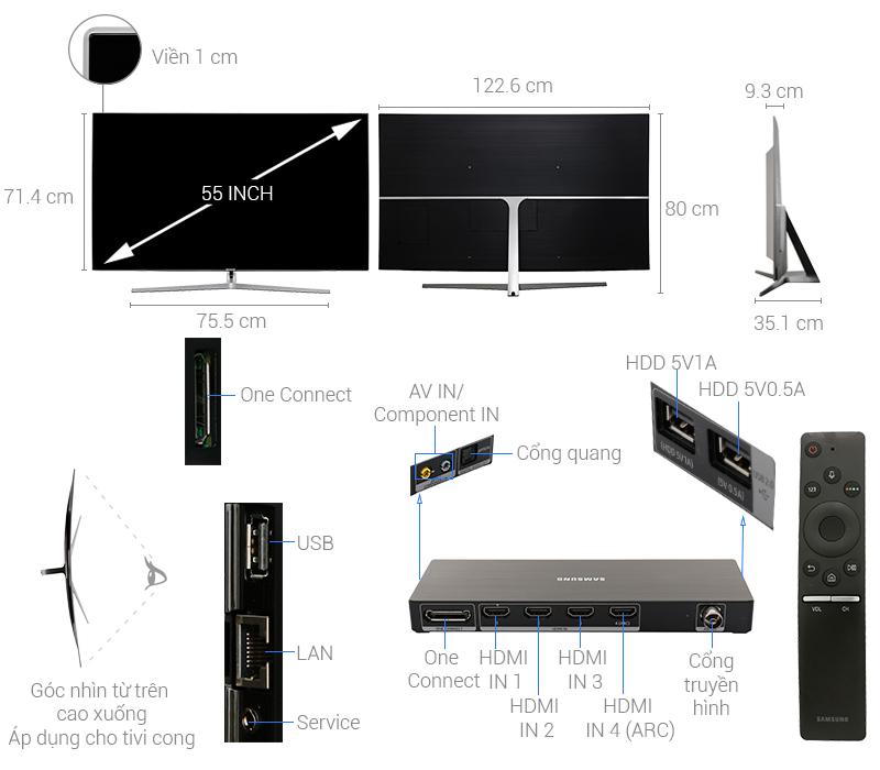 Thông số kỹ thuật Smart Tivi Cong Samsung 4K 55 inch UA55MU9000