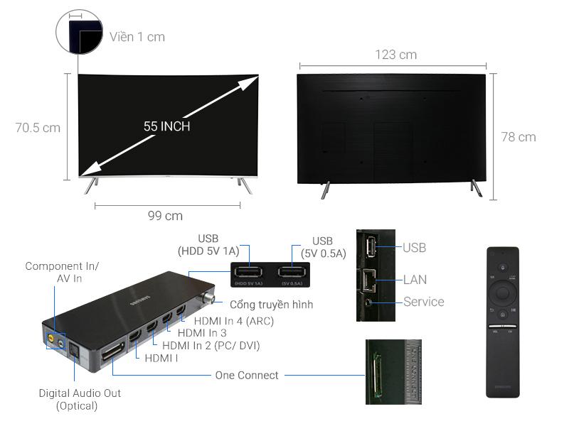 Thông số kỹ thuật Smart Tivi Cong Samsung 55 inch UA55MU8000