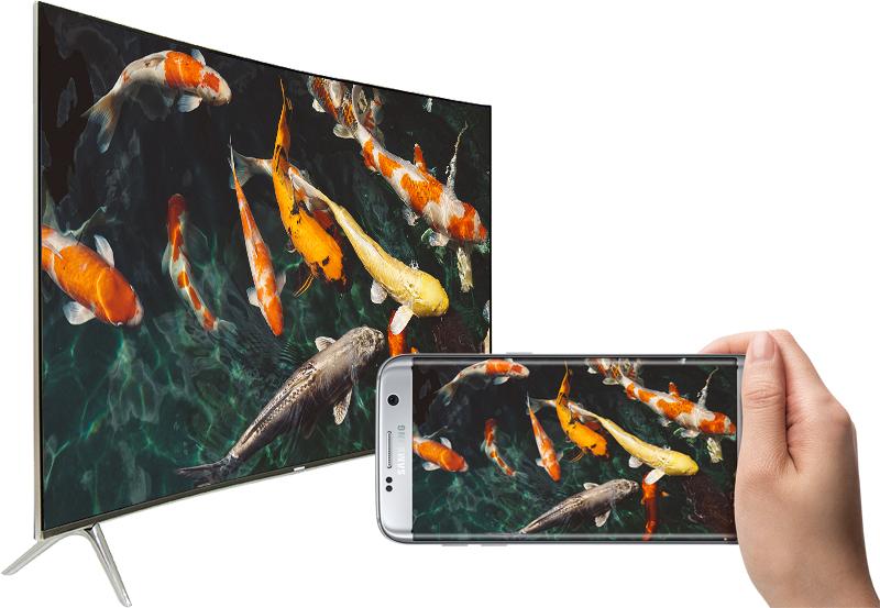 Smart Tivi Cong Samsung 55 inch UA55MU8000 - Trình chiếu màn hình điện thoại lên tivi
