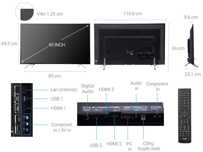 Thông số kỹ thuật Smart Tivi Toshiba 4K 49 inch 49U7650