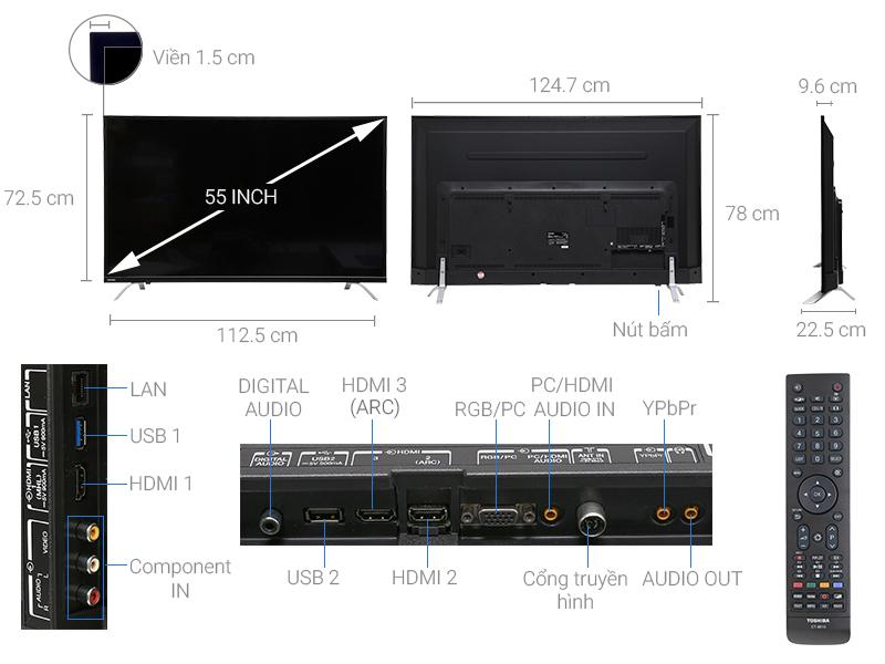 Thông số kỹ thuật Smart Tivi Toshiba 55 inch 55U7650