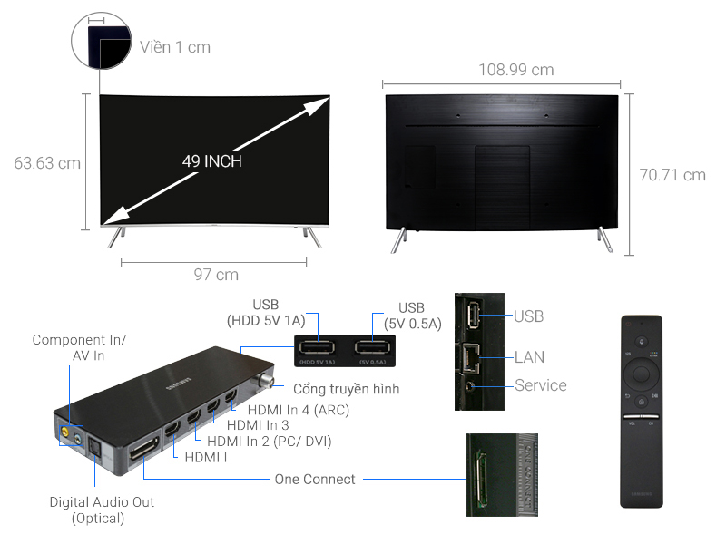 Thông số kỹ thuật Smart Tivi Cong Samsung 49 inch UA49MU8000