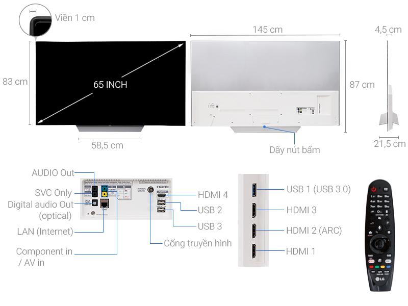 Thông số kỹ thuật Smart Tivi LG 65 inch OLED65C7T