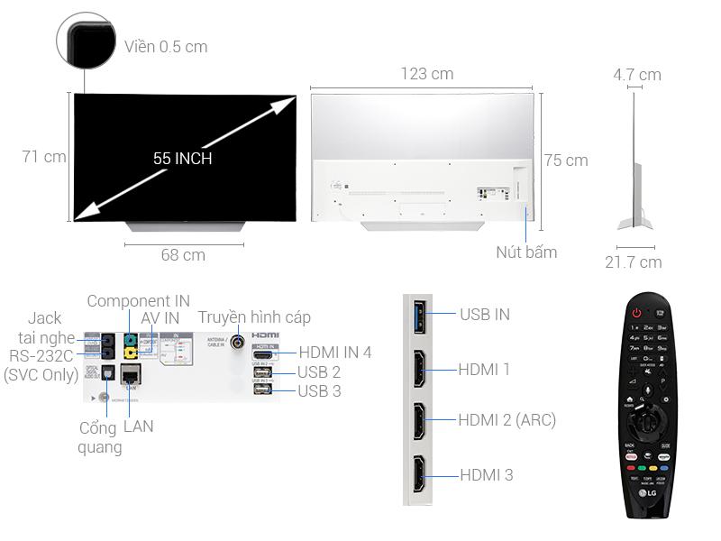 Thông số kỹ thuật Smart Tivi OLED LG 55 inch 55C7T
