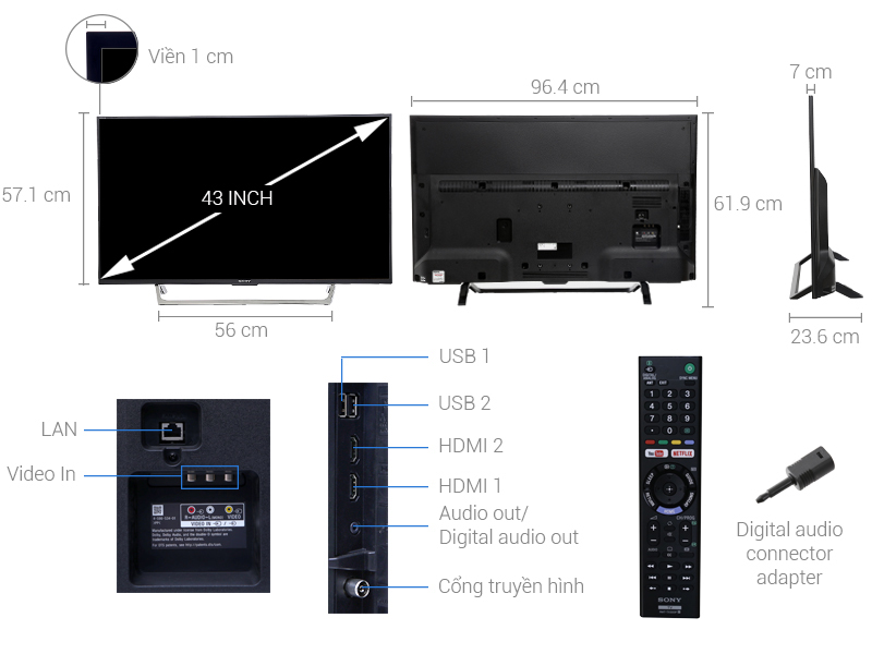 Thông số kỹ thuật Smart Tivi Sony 43 inch KDL-43W750E