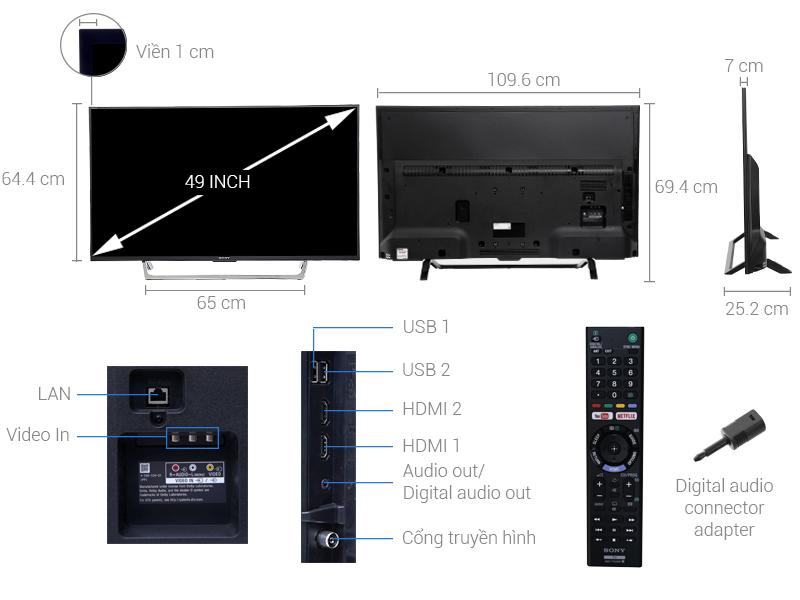 Thông số kỹ thuật Internet Tivi Sony 49 inch KDL-49W750E